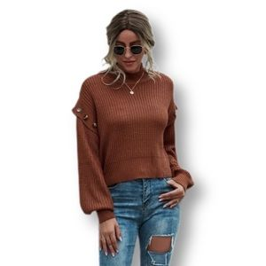 Ribbed Knitted Button Detailed Sweater Top